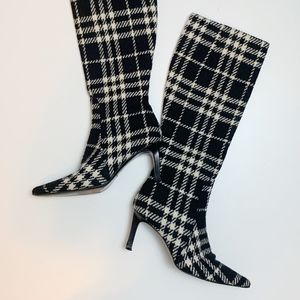 Auth Burberry Nova Check Wool Point Toe Heel Boots